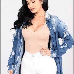 Fashion Nova Jackets & Coats - Fashion Nova Distressed Jean Jacket